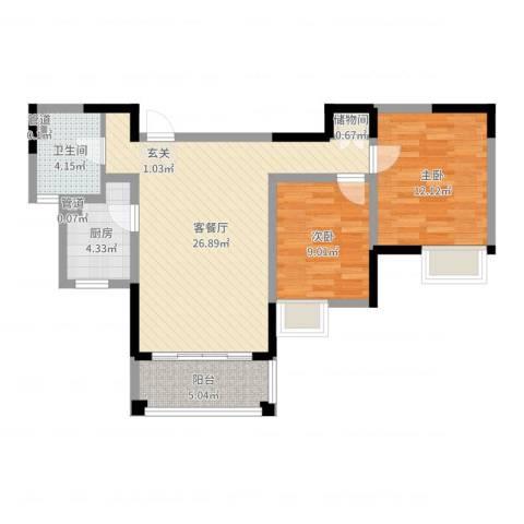 发展今日嘉园2室2厅1卫1厨78.00㎡户型图