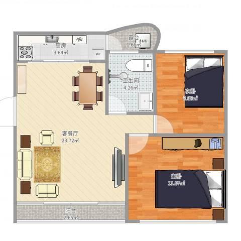 桦润馨居2室2厅1卫1厨72.00㎡户型图
