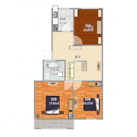 蟠桃花园3室1厅1卫1厨101.00㎡户型图