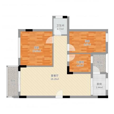 金地格林小城3室2厅1卫1厨86.00㎡户型图