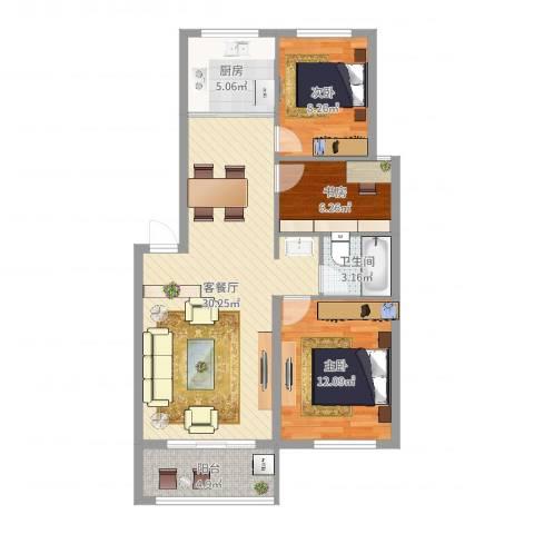 水岸绿苑3室2厅1卫1厨87.00㎡户型图