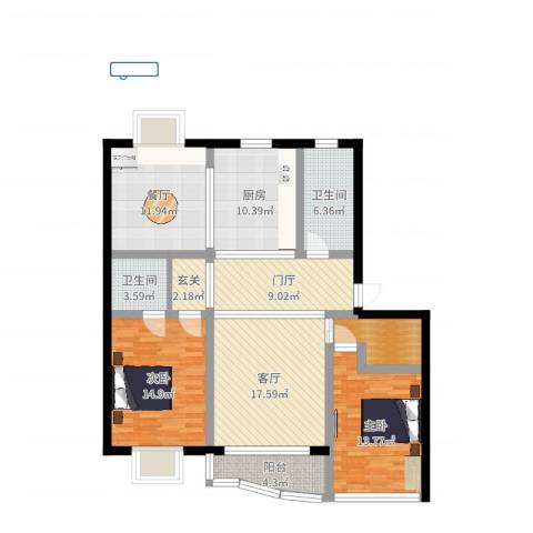春晖苑2室2厅2卫1厨124.00㎡户型图