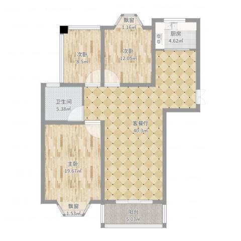 北景园3室2厅1卫1厨119.00㎡户型图