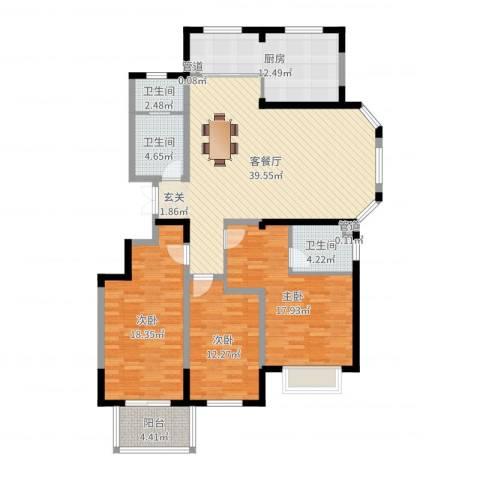 青青小城3室2厅3卫1厨146.00㎡户型图