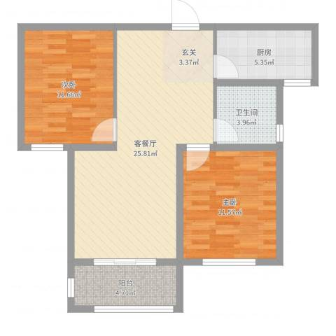汇君城2室2厅1卫1厨79.00㎡户型图