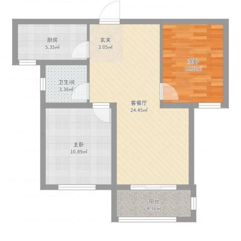 汇君城2室2厅1卫1厨73.00㎡户型图