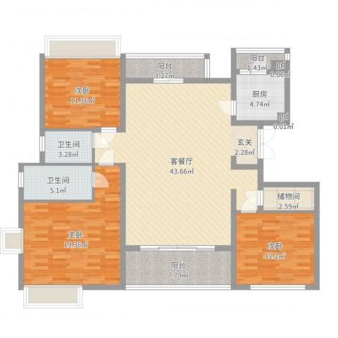 御沁园公寓3室2厅2卫1厨144.00㎡户型图