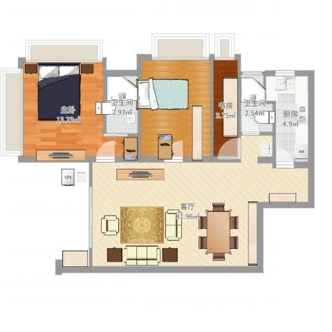 御沁园公寓2室1厅2卫1厨88.00㎡户型图