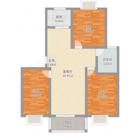 银河花园3室2厅1卫1厨110.00㎡户型图