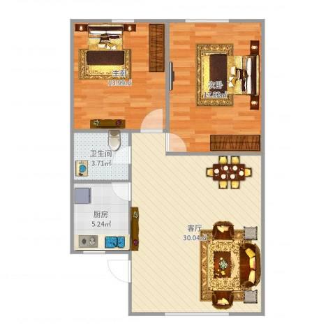 馨园小区2室1厅1卫1厨88.00㎡户型图