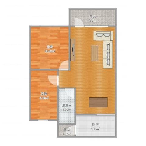 桦润馨居2室0厅1卫1厨75.00㎡户型图