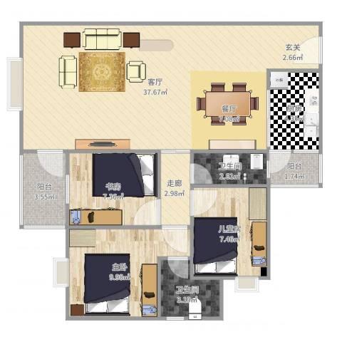 恒晟.百花园小区3室1厅2卫1厨100.00㎡户型图