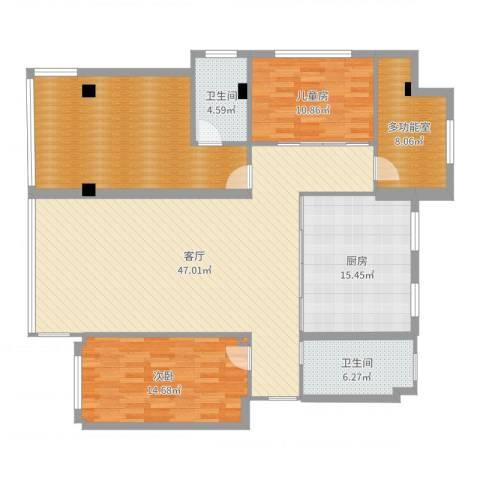 富锦园2室1厅2卫1厨160.00㎡户型图