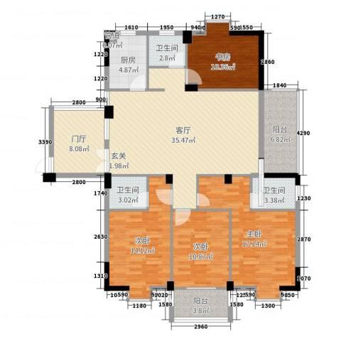 东城国际二期4室1厅3卫1厨151.00㎡户型图