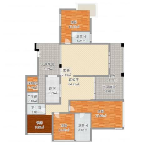 观山湖1号3室2厅4卫1厨235.00㎡户型图