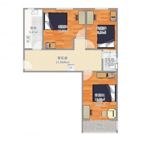 丽泽景园2室1厅1卫1厨72.00㎡户型图