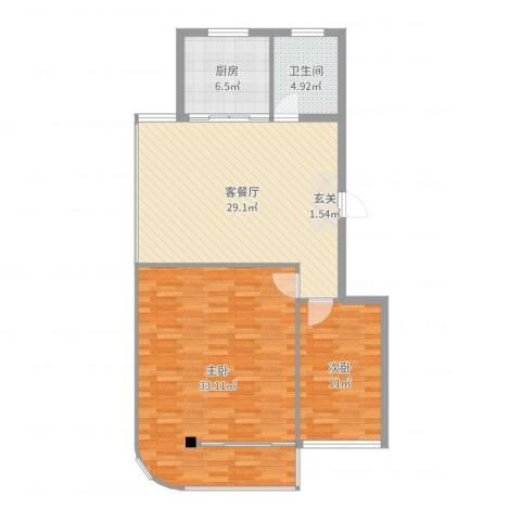 海林依景2室2厅1卫1厨106.00㎡户型图