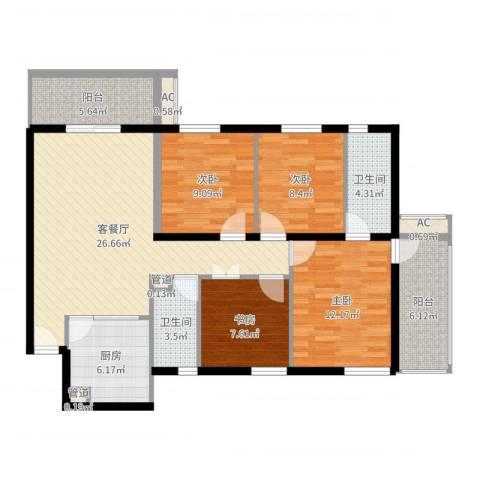 雅居园4室2厅2卫1厨114.00㎡户型图