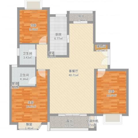 太仓市大庆锦绣新城3室2厅2卫1厨129.00㎡户型图