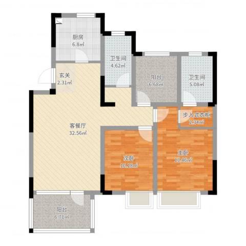 五矿・铂海岸2室2厅2卫1厨111.00㎡户型图