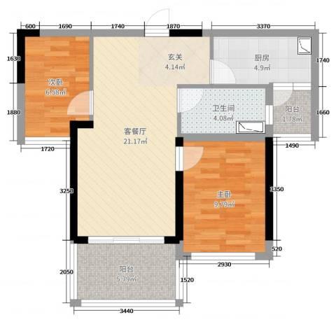 双大・山湖湾2室2厅1卫1厨69.00㎡户型图