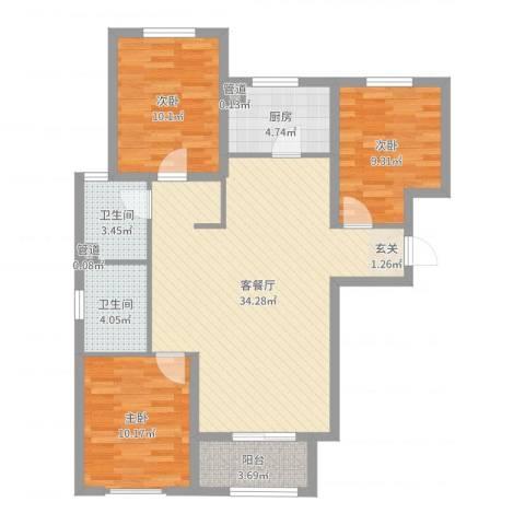 澳澜宝邸3室2厅2卫1厨100.00㎡户型图