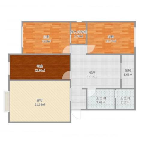 世家花园3室2厅2卫1厨116.00㎡户型图