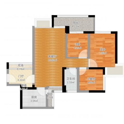 中海康城国际3室2厅1卫1厨60.00㎡户型图
