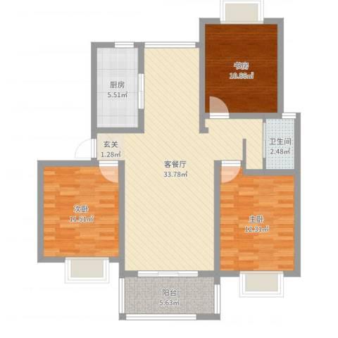 世纪锦都3室2厅1卫1厨103.00㎡户型图