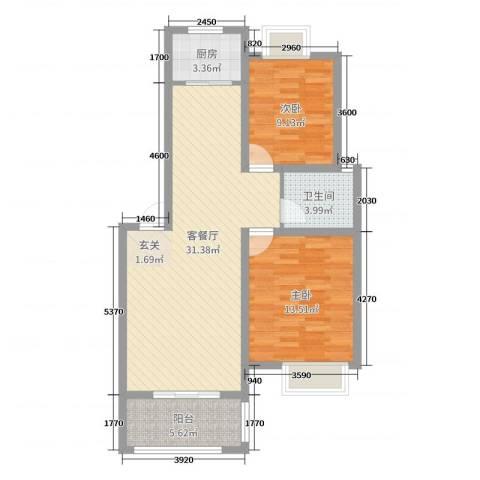 阳光嘉园2室2厅1卫1厨82.00㎡户型图