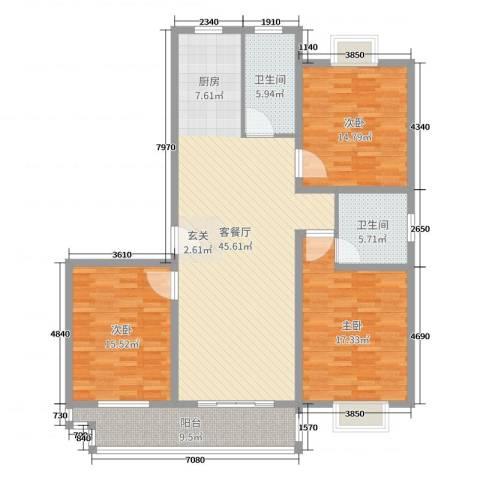富丽名苑3室2厅2卫0厨143.00㎡户型图