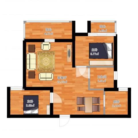 兰汀朝阳2室2厅1卫1厨58.00㎡户型图