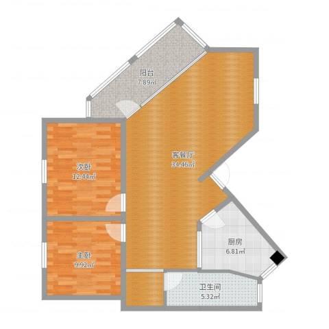 馨泰花苑2室2厅1卫1厨99.00㎡户型图