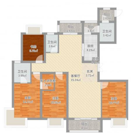 新丰苑4室2厅3卫1厨128.00㎡户型图