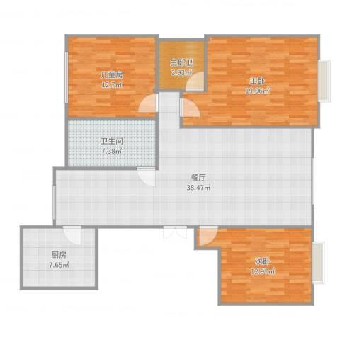 林州市公安小区3室1厅1卫1厨128.00㎡户型图