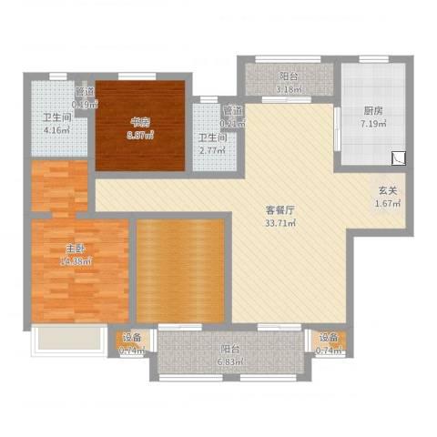 吾悦国际广场2室2厅2卫1厨116.00㎡户型图