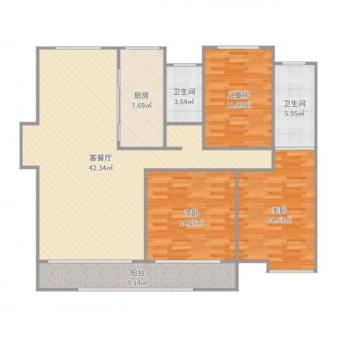 吾悦国际广场3室2厅2卫1厨137.00㎡户型图
