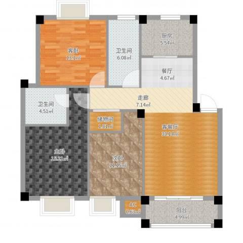 天邻风景3室2厅2卫1厨116.00㎡户型图