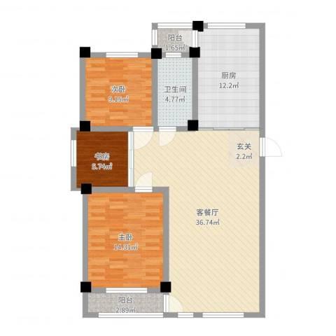 昌盛经典二期御花苑3室2厅1卫1厨109.00㎡户型图