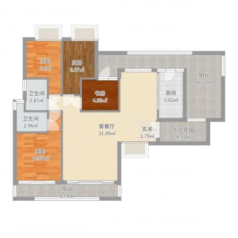 新鹰国际4室2厅2卫1厨121.00㎡户型图