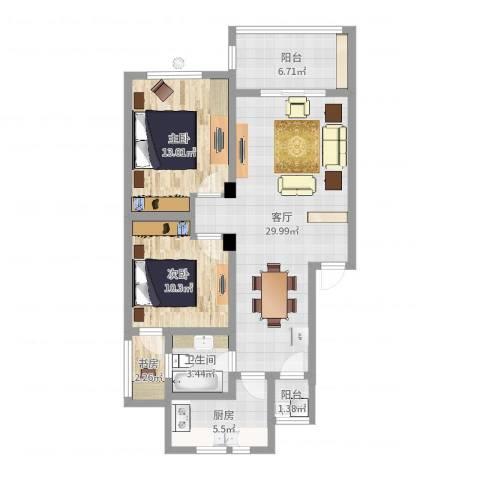 锦绣江南3室1厅1卫1厨91.00㎡户型图