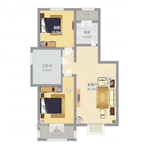 晟禾时代2室2厅1卫1厨96.00㎡户型图