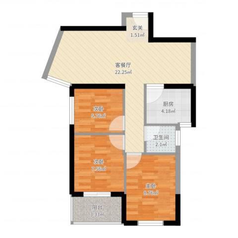 杏北新城锦园居住区3室2厅1卫1厨67.00㎡户型图
