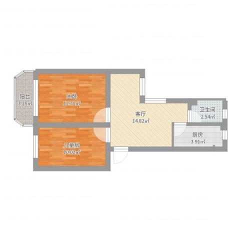 金杨新村2室1厅1卫1厨59.00㎡户型图