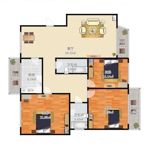世佳新苑2-2-14023室1厅2卫1厨172.00㎡户型图