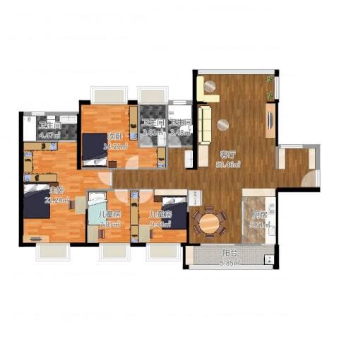 正德天水湖4室1厅3卫1厨156.00㎡户型图