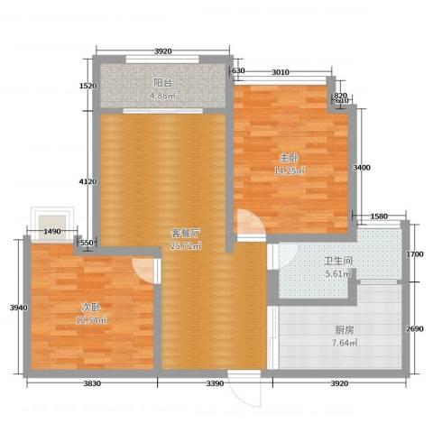 城中花园2室2厅1卫1厨88.00㎡户型图