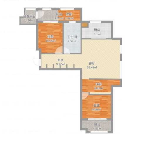世嘉・正园2室1厅1卫1厨106.00㎡户型图