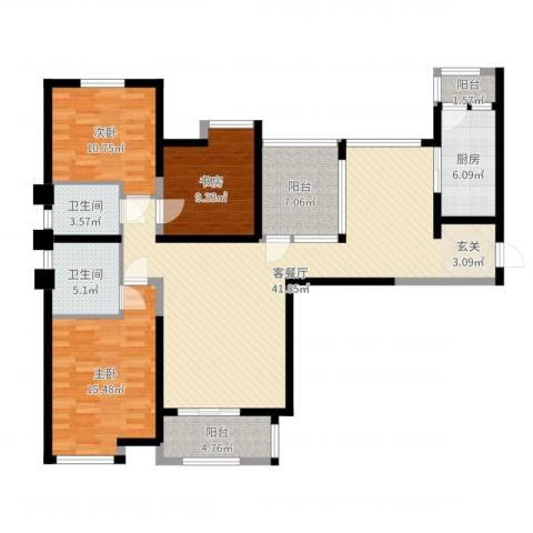 百合苑住宅楼3室2厅2卫1厨132.00㎡户型图