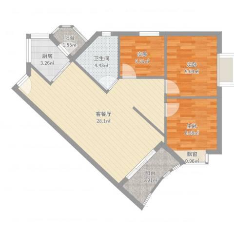 嘉仕花园上领3室2厅1卫1厨80.00㎡户型图